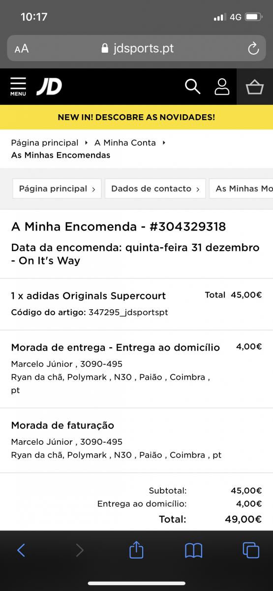 JD Sports - Sapatilhas compradas dia 31 de Dezembro de 2020