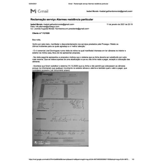 Prosegur Alarmes - Serviço não prestado